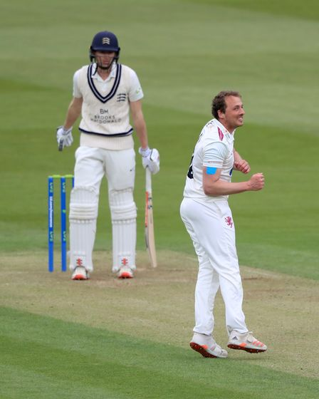Somerset's Josh Davey celebrates taking the wicket of Middlesex's Martin Anderson at Lord's