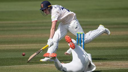 Essex's Dan Lawrence stetches to avoid a run out during the LV= Insurance County Championship match