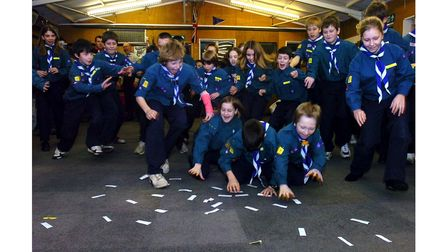 Children taking part in the Ipswich Gang show roadshow atCapel St Mary Scout hut in 2006
