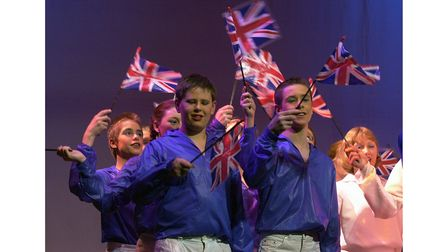Red, white and blue at the Ipswich Gang Show in 2002 for the Queen's Golden Jubilee