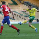 Marco Stiepermann of Norwich has a shot on goal during the Sky Bet Championship match at Carrow Road
