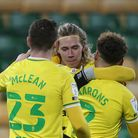 Todd Cantwell of Norwich celebrates scoring his side's 4th goal during the Sky Bet Championship ma
