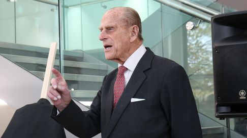 Prince Philip the Duke of Edinburgh at the opening of the new science building at the University of Hertfordshire in 2016.