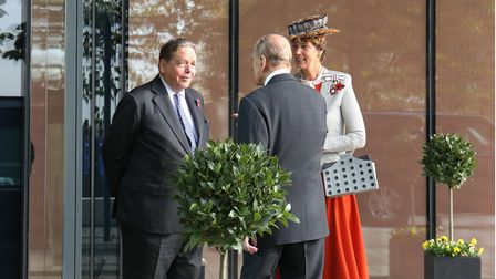 Lord Salisbury and the Lord Lieutenant of Hertfordshire the Countess of Verulam with Prince Philip in Hatfield