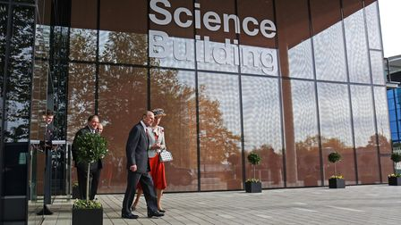 Prince Philip the Duke of Edinburgh leaves the new science building at the University of Hertfordshire in 2016