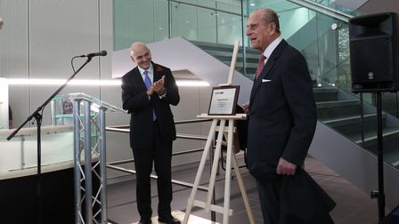 Prince Philip the Duke of Edinburgh officially opens the new science building at the University of Hertfordshire in Hatfield