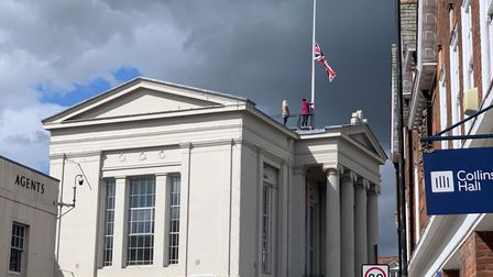 The flag is flying at half-mast on St Albans Museum + Gallery