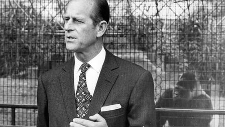 On an earlier visit to London Zoo, the Duke of Edinburgh, Prince Philip with the one-time zoo favourite Guy the Gorilla