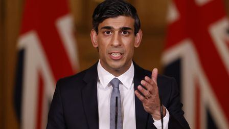Chancellor of the Exchequer, Rishi Sunak during a press conference in 10 Downing Street, London, fol