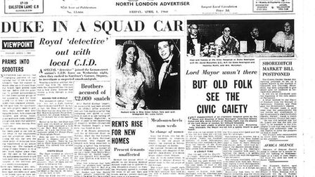 "The Gazette headline from over 60 years ago reads: ""Duke in a Squad Car""."