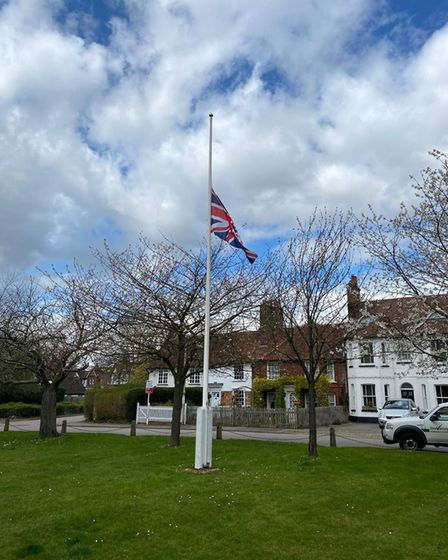 The flag at half-mast at Stevenage Bowling Green.