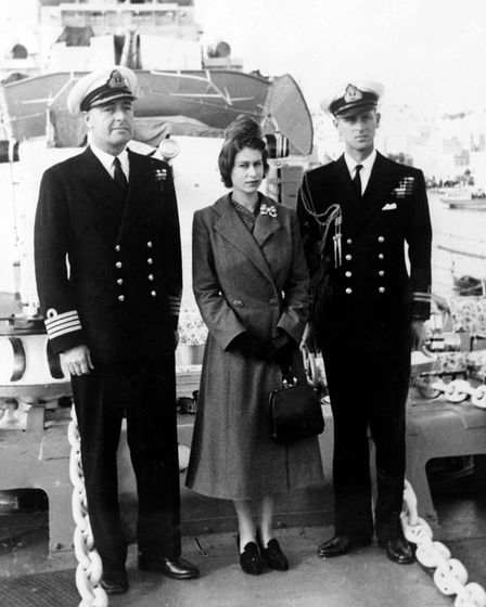 The Duke of Edinburgh and Captain John Edwin Home McBeath and the Queen in 1949