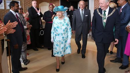 Queen Elizabeth II and the Duke of Edinburgh arrive for their visit to Broadway Theatre in Barking.