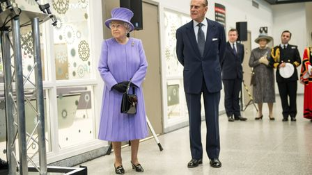The Queen and Prince Philip, Duke of Edinburgh meet staff as they tour and open the new Royal London
