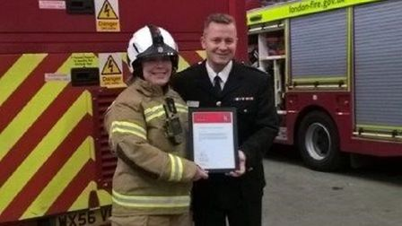 Emma Beattie and London Fire Brigade Deputy Assistant Commissioner Al Perez