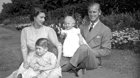 Princess Anne with her father, the Duke of Edinburgh, Princess Elizabeth, and Prince Charles, in the