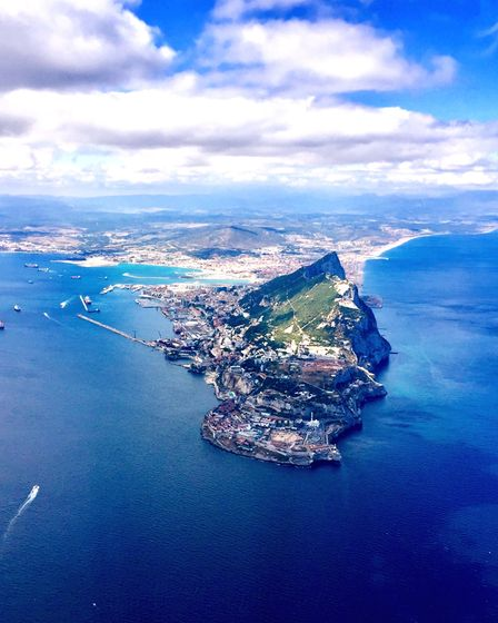 Gibraltar, as seen from above, with Spain lying beyond