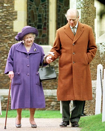 The Queen Mother with the Duke of Edinburgh at Sandringham church, Christmas Day, 1999