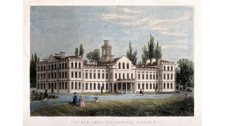 A coloured engraving of the Smallpox Hospital inHighgate