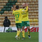 Teemu Pukki of Norwich celebrates scoring his sides 6th goal from the penalty spot to complete his h