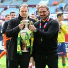 Norwich City Sporting Director Stuart Webber and Norwich Head Coach Daniel Farke with the trophy at
