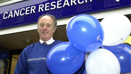Norwich MP, Dr Ian Gibson opening the new Cancer Research UK shop on London Street in Norwich < CO