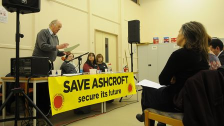 The Save Ashcrosft mental health unit meeting at Vauxhall Centre, Norwich chaired by Dr Ian Gibson.