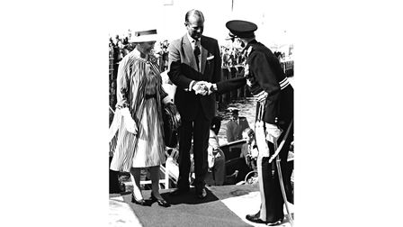 Lord Roborough, Lord Lieut of Devon, welcomes the Queen and Prince Philip at Beacon Quay in August 1977