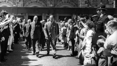 The Duke of Edinburgh steps out with Sir Arthur Thomson, acting president of British Medical Association, in Torquay