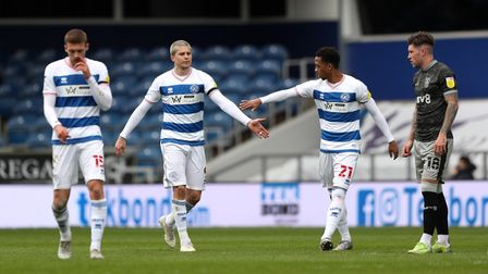 Queens Park Rangers' Lyndon Dykes (second left) celebrates scoring with Chris Willock