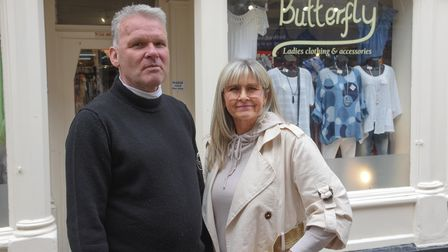 David and Natasha Cox, owners of Butterfly clothing shop on White Lion Street in Norwich, preparing