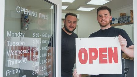 Richard Lansdell and Jack Buckles, owners of brand new B1 Barbershop in Horsford, preparing to open