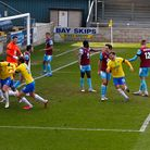 Goal celebrations for Connor Lemonheigh-Evans of Torquay United as he scores the winning goal during