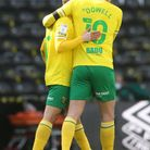 Kieran Dowell is congratulated by Emi Buendia after his free kick in Norwich City's 1-0 Championship win over Derby