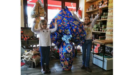 Sofia and Diana Parisi, who drew the raffle, with the winning egg