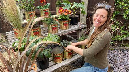 Gardener Hannah Stock has transformed the Woolpack's car park into a new beer garden.