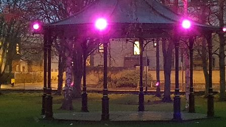 The bandstand in Huntingdon was lit up to pay tribute to Prince Philip, who died on Friday, April 9.