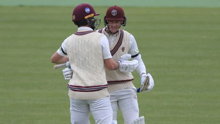 Somerset's Lewis Gregory (left) and George Bartlett (right) celebrate their win against Middlesex at Lord's