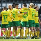 Kieran Dowell of Norwich celebrates scoring his sides 1st goal from a free kick during the Sky Bet C