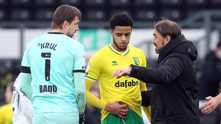 Tim Krul of Norwich, Andrew Omobamidele of Norwich and Norwich Head Coach Daniel Farke at the end of