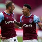 West Ham United's Jesse Lingard (right) celebrates scoring their side's first goal of the game durin