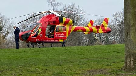 The Essex & Herts Air Ambulance landed in Alexandra Park