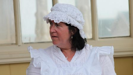 Playwright Suzanne Hawkes as the Cook