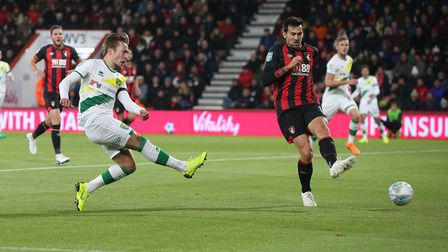 Felix Passlack of Norwich has a shot on goal during the Carabao Cup match at the Vitality Stadium, B
