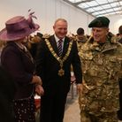 Councillor Ian Roome (then Barnstaple Mayor) meeting Prince Philip during a visit to Chivenor in 2011