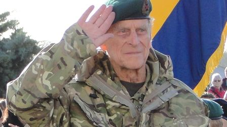 HRH Prince Philip takes the salute from Chivenor troops as they march through Barnstaple