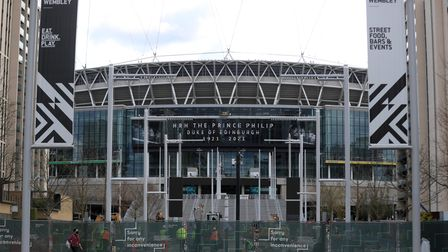 A tribute to the Duke of Edinburgh, on display at Wembley Stadium, following the announcement of his
