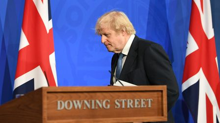 Prime minister Boris Johnson at a Downing Street briefing