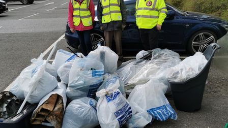 Honiton Lions Club members joined the newly-formed Honiton Litter Pickers to clear up rubbish