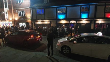 """A crowd of """"at least 100"""" were seen queueing up outside Sin in Ipswich. Picture: HARRY GRIFFITHS"""